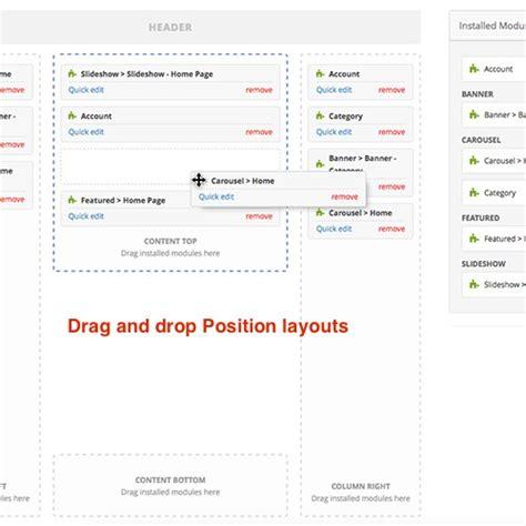 layout editor opencart opencart visuallayouts drag and drop module layout editor