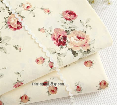 lovely floral cotton fabric yellow pink rose floral on light yellow cotton shabby chic flower