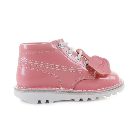 light pink baby shoes kickers girls kids infant kick hi patent light pink lace