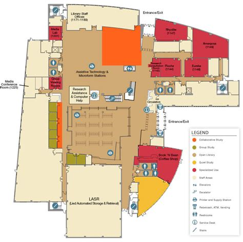 map floor plan unlv libraries lied library floor plans first floor