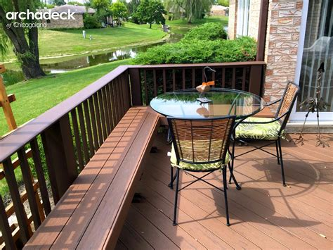 deck with built in bench deck design ideas by archadeck of chicagoland outdoor living with archadeck of