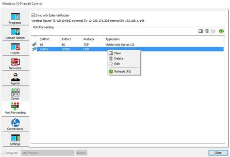 windows port forward port forwarding windows 10 firewall sphinx software