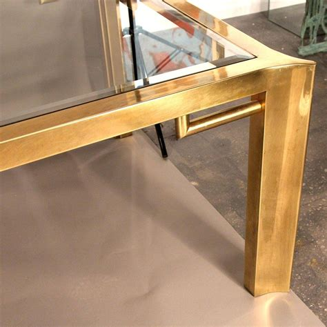 mastercraft brass glass dining table with leaf at 1stdibs