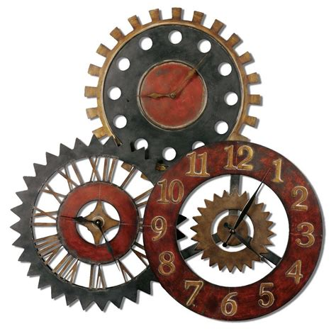 art wall clock rusty movements wall clock three different time zones