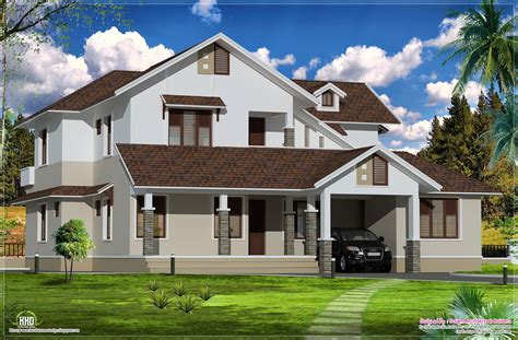 Sloping roof villa exterior elevation   Home Kerala Plans