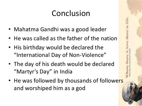 mahatma gandhi biography conclusion mahatma gandhi life story relating to leadership