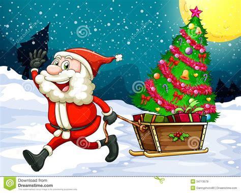 imagenes santa claus navidad pap 225 noel feliz que tira del trineo con un 225 rbol de