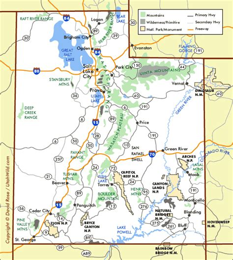 printable map utah utah road map