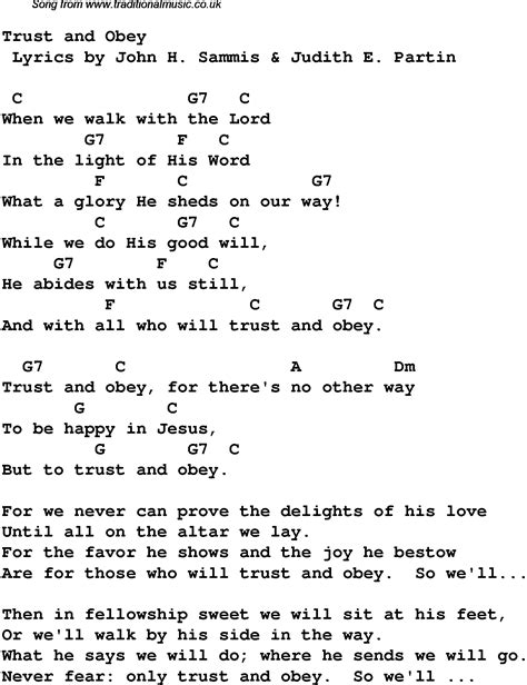 song lyrics and chords trust and obey christian gospel song lyrics and chords