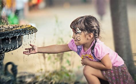 Wallpapers For Children Children Kids Cute People Mood Drops Water Fountains