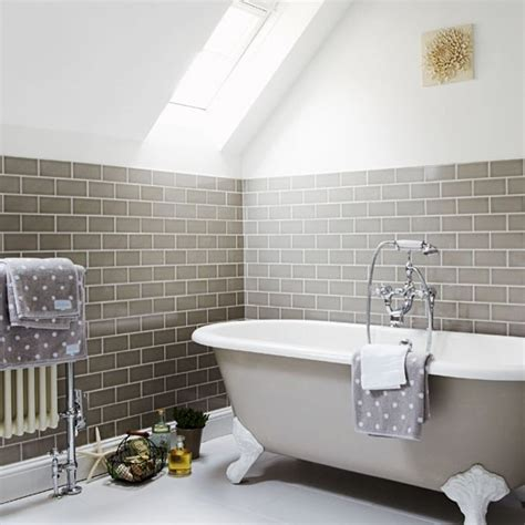 grey bathroom with skylight and wall tiles grey bathroom