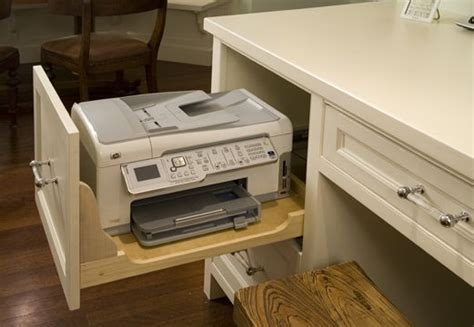 desk with printer space keep your printer in the with the cut out