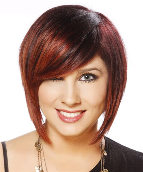 swept back casual haircust short straight casual bob hairstyle with side swept bangs