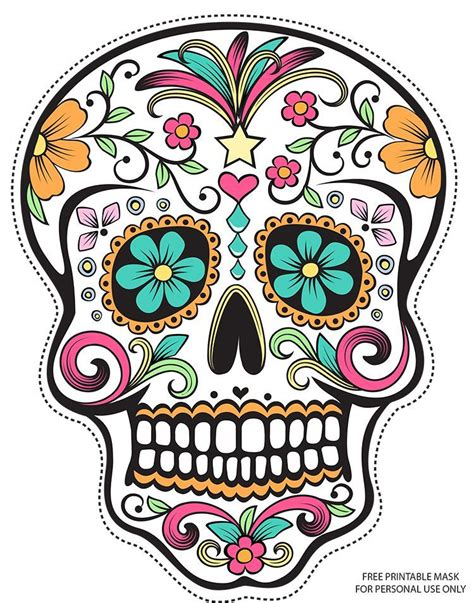 sugar skull candy skull day free printable sugar skull day of the dead mask free free
