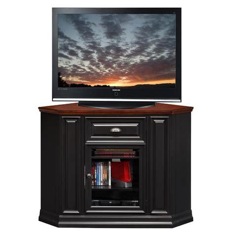 furniture black corner tv cabinet with framed glass