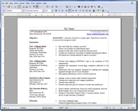Cv Template Open Office Cv Template Open Office