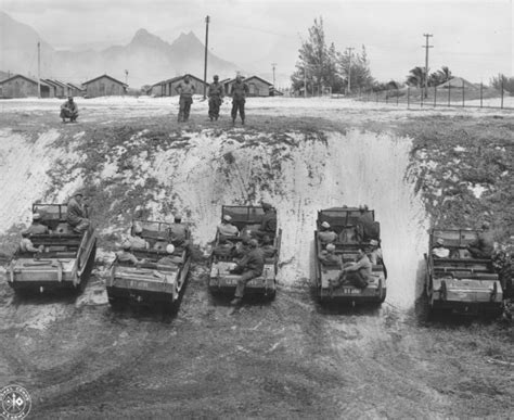 hibious vehicles during maneuvers on oahu in world war