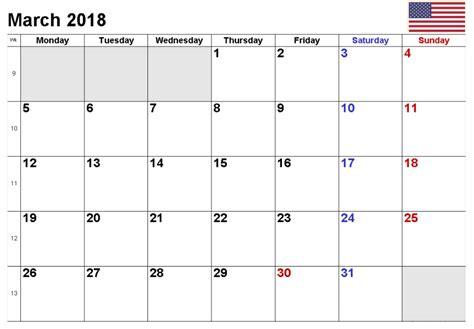 printable calendar 2018 usa march 2018 printable calendar calendar 2018