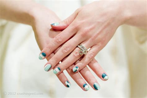 tutorial nail art silver crashingred pretty nails in mint teal and silver how to
