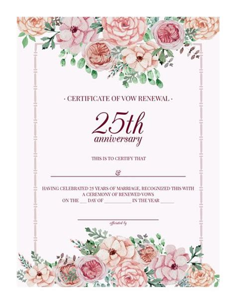 Free Printable Vintage Floral 25th Anniversary Vow Renewal Certificate Wedding Anniversary Certificate Template
