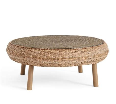 santa woven coffee table pottery barn