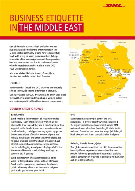 Top Mba Universities In Middile East by The Dhl Guide To Middle East Business Etiquette