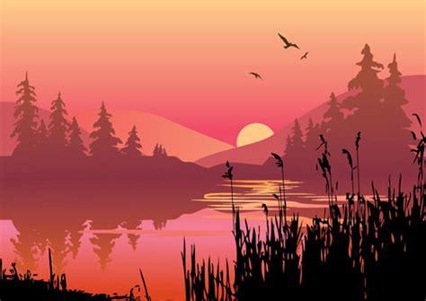 Lu Flash Payung kata kunci senja danau pegunungan rumput siluet pohon
