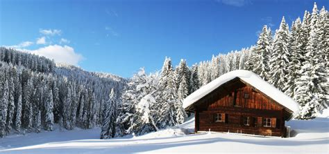winter house nature forest winter snow winter panorama house sky clouds