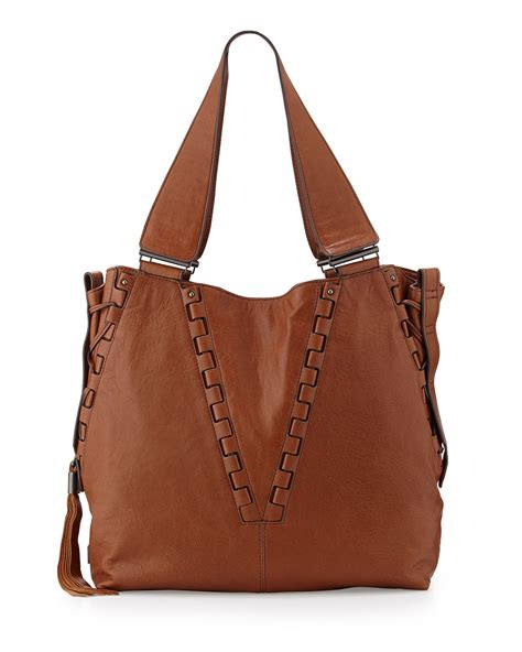 Kooba Tote Bag by Kooba Braeden Tumbled Leather Tote Bag In Brown Lyst