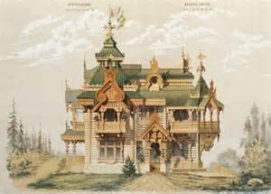 archi illustration maisons russes en bois le de