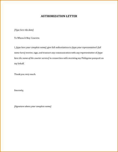 Visa Letter Of Authorization Authorization Letter To Up Passport Authorization Letter Pdf