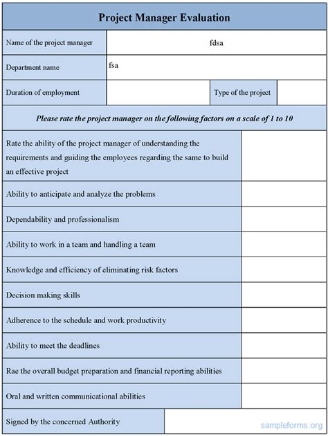 project manager evaluation form sle project manager