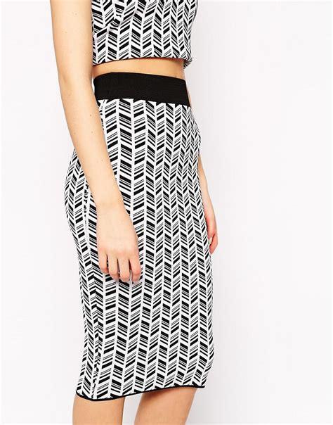 asos asos co ord knit pencil skirt in mono pattern at asos