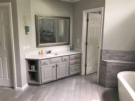 sw dorian gray bathroom cabinets walls  sw repose gray