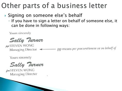 business letter signature for someone else signing a letter on behalf of someone else exle parlo