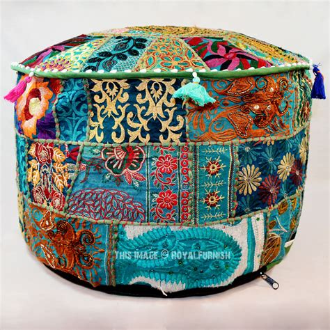 Green Multi Unique One Of A Kind Boho Floor Seating Round Pouf Seating Ottoman