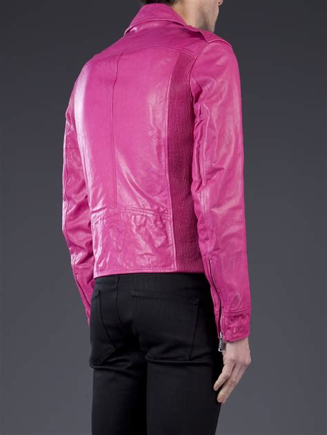pink motorcycle jacket dsquared 178 motorcycle jacket in pink for men lyst