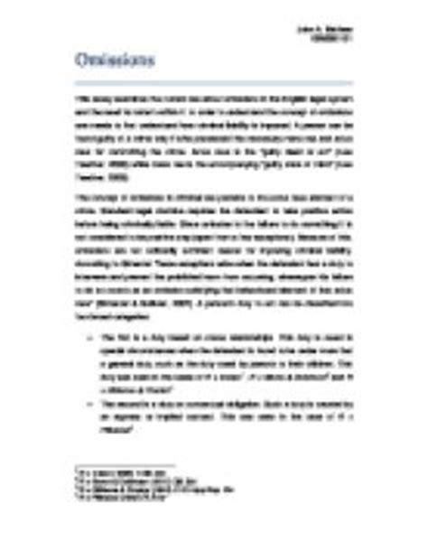 Omissions Criminal Essay by Omissions In Uk Criminal The Concept Of Omissions In Criminal Pertains To The Actus