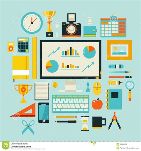 Flat Design Style Modern Illustration Icons Set Of Office Items And Tools Stock Illustration