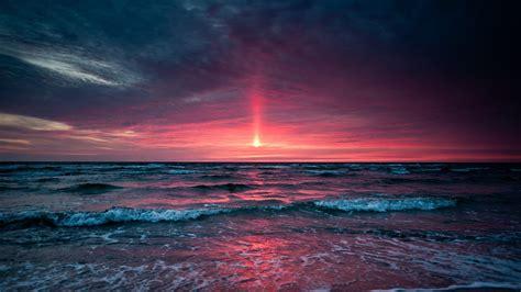nature sea sunset horizon sky waves wallpapers hd