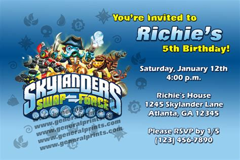Free Skylander Swap Force Birthday Invitation Template Party Invitations Ideas Skylanders Birthday Invitations Template