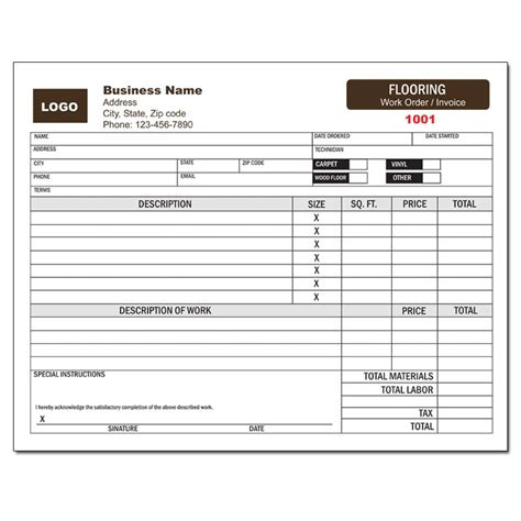 Flooring Invoice Template by Forms By Service Designsnprint