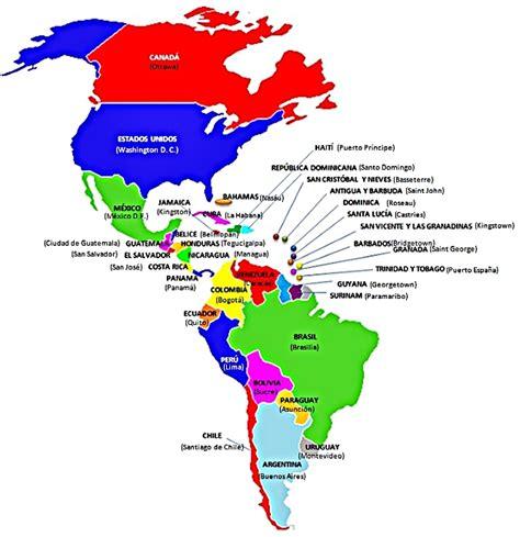 mapa politico de america con todos los paises mapa con los pa 237 ses y capitales de am 233 rica recursos