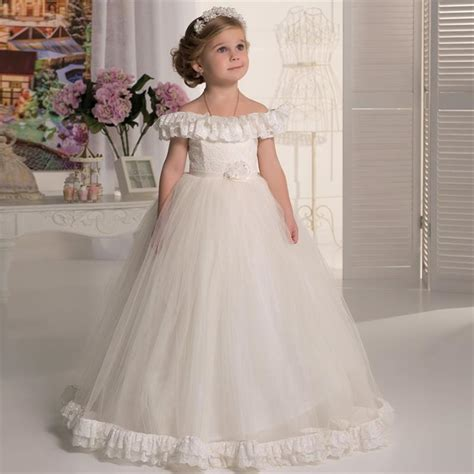 new design boat neck lace flower girl dresses first holy - Boat Neck Communion Dress