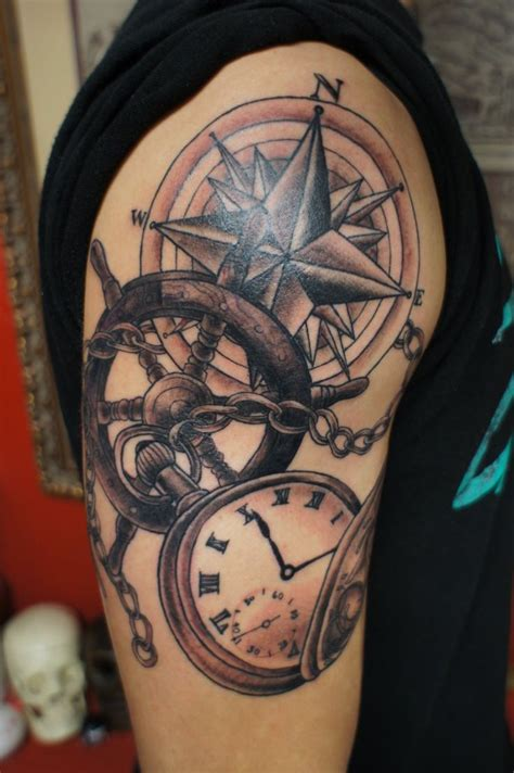 quarter sleeve compass tattoo grey nautical compass and pocket watch tattoo on half