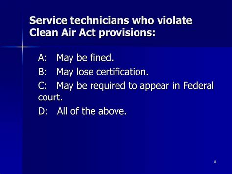 clean air act section 608 ppt section 608 certification pre test powerpoint