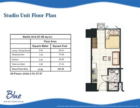 Floor Plan Building by Blue Residences Katipunan