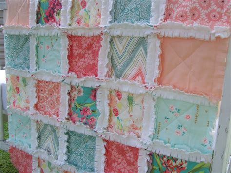 Teal Colored Quilts Crib Rag Quilt Coral Aqua Teal Baby Shabby Chic