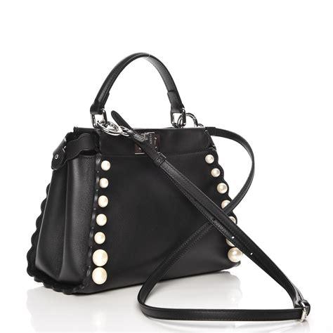 Fendi Peekaboo Nappa fendi nappa pearl embellished mini peekaboo satchel black