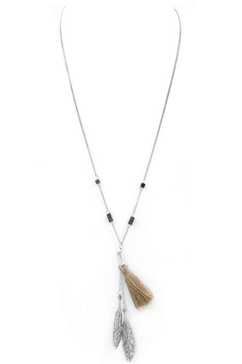 Vintage Feather Tassel Necklace textured feather tassel pendant necklace necklaces